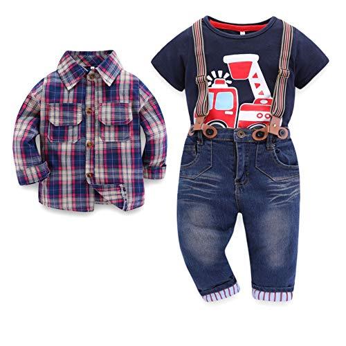 PUJIANGxian BoyVarious goed uitziend en wijsplaids lange mouwen T-shirt gebreide jas denim overall drie sets zakdoek