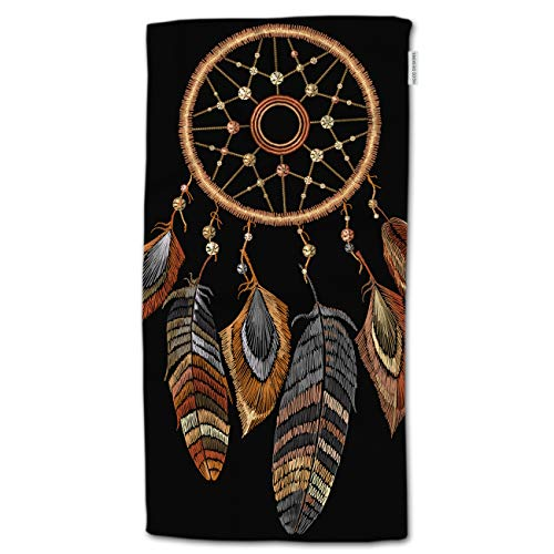 HGOD DESIGNS Dreamcatcher Hand Towels Embroidery Tribal Dream Catcher Boho Native American Indian Talisman Soft Hand Towel for Bathroom Kitchen Yoga Gym Decorative Towels 15'X30'
