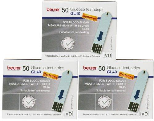Beurer GL 40 Blutzucker - Teststreifen Multipack (150 Teststreifen)