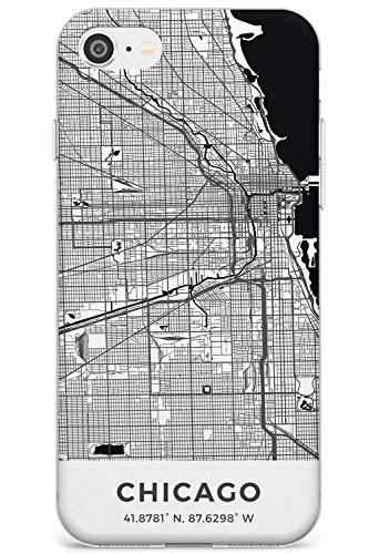 Mappa di Chicago, Illinois Slim Cover per iPhone 5 TPU Protettivo Phone Leggero con Viaggio Wanderlust Stati Uniti d'America Città Strade