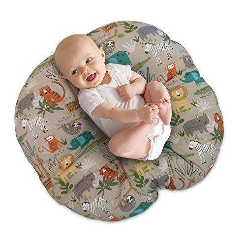 Boppy Newborn Lounger—Original Lightweight Plush Chair with Carrying Handle Infant Seat for Awake Time Wipeable and Machine Washable Woodtone Jungle Animals