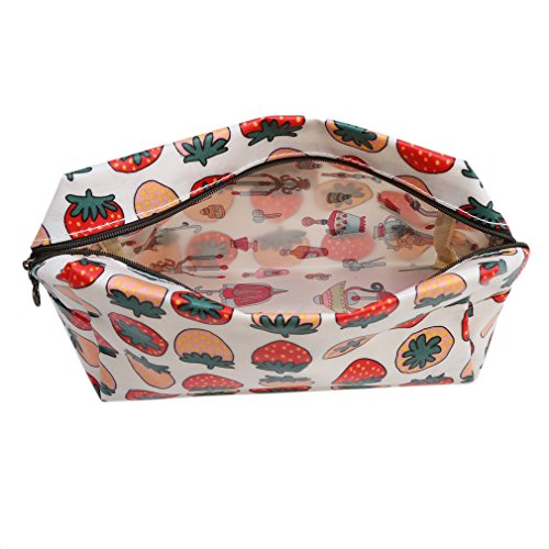 Kaned Cartoon Printing Cosmetic Bag Lemon Strawberry Duckling Owl Portable Travel Pouch Makeup Organizer Clutch,Rouge