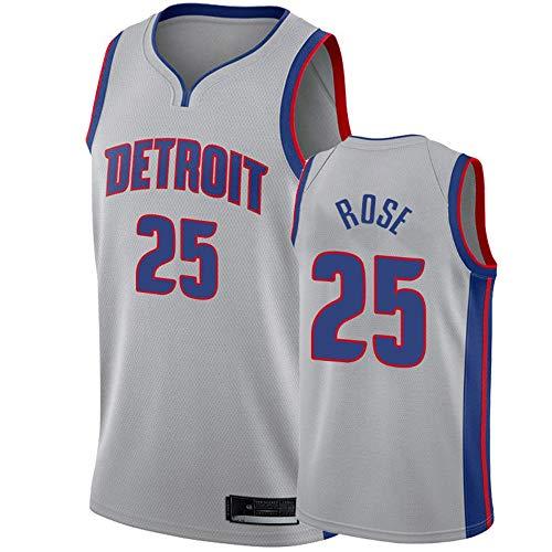 XIAOHAI NBA Sports Basketball Jersey Detroit Pistons # 25 Derrick Rose Resistente al Desgaste Resistente a la Malla Bordada Baloncesto Swingman Jerseys Camiseta Deportiva Jerseys,XXL