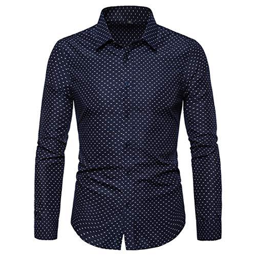Hemd Herren Langarm Shirt Hemden Polka Dot Slim Fit Männer T-Shirt Business Freizeit...