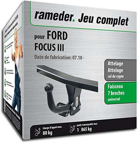 Rameder Pack, attelage démontable avec Outil + Faisceau 7 Broches Compatible avec Ford Focus III (129142-09155-2-FR).