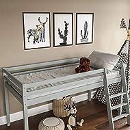 Vida Designs Sydney High Sleeper Cabin Bunk Bed With Ladder, Solid Pine Wood Frame, Kids Children, S...