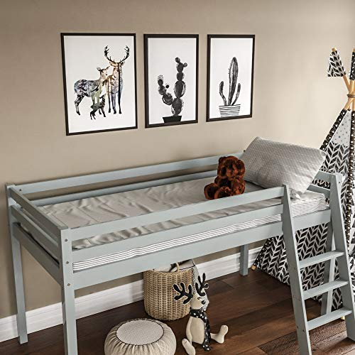 Vida Designs Sydney High Sleeper Cabin Bunk Bed With Ladder, Solid Pine Wood Frame, Kids Children, Single 3 Foot, Grey