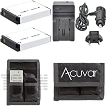 2 SLB-10A Rechargeable Batteries + Car / Home Charger + Acuvar Battery Pouch for Samsung WB150F, WB250F, WB350F, WB500, WB550, WB750, WB850F, WB800F, WB1100F, WB2100, HMX-U100, HMX-U100UN, HMX-U100SN and Other Models