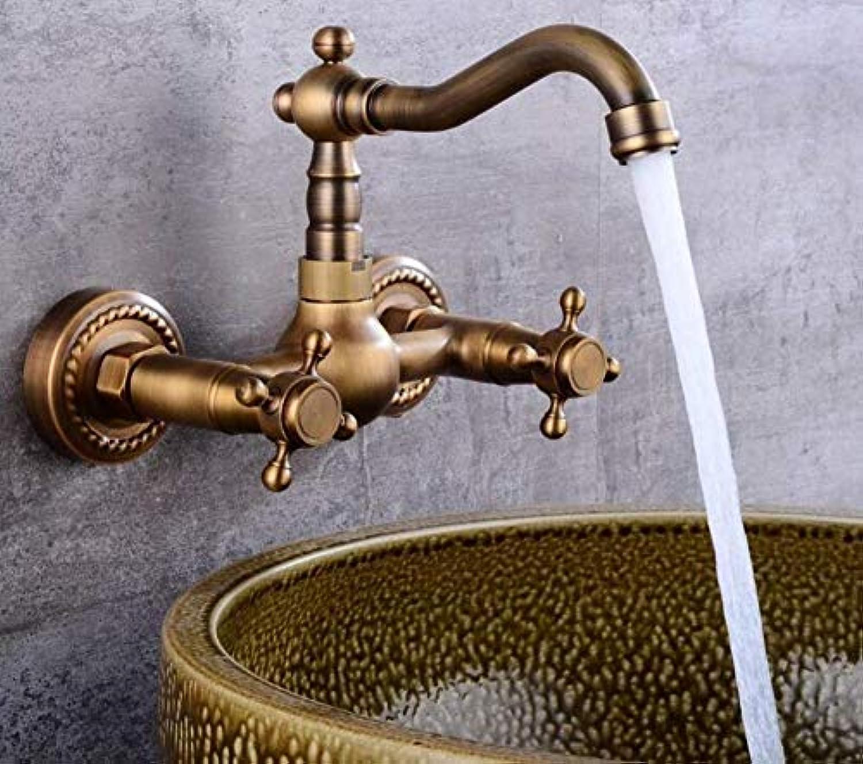 Retro Wasserhahn 360 Rotation Küchenspüle Wasserhahn Wandmontage Kran Doppelgriff Bad Becken Mischbatterie Kalt Und Hei