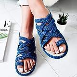 Sandalias Romanas De Mujer,Sandalias Azules Antideslizantes De Fondo Plano Cruzado De Cuerda Trenzada Sin Cordones, Zapatos De Verano De Mujer De Estilo Tradicional Simple Creativo Informal Tradicion