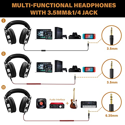 OneOdio Wired Over Ear Headphones Studio Monitor & Mixing DJ Stereo Headsets with 50mm Neodymium Drivers and 1/4 to 3.5mm Audio Jack...