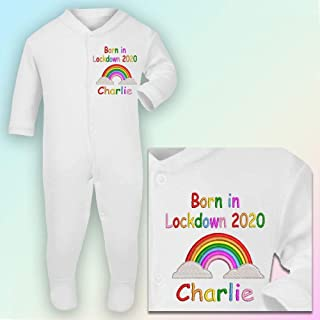 Romper in Baby Blue Multicoloured Thread 6-12 Months Personalised Rainbow Lockdown Embroidered