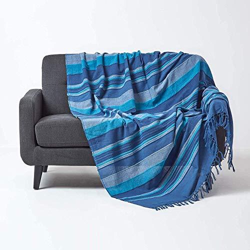 Homescapes große Tagesdecke Morocco, blau, Sofa-Überwurf aus 100prozent Baumwolle, weiche Wohndecke 225 x 255 cm, blau gestreift, mit Fransen