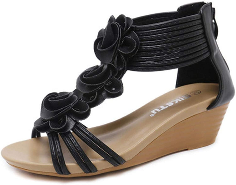 MEIZOKEN Womens Floral Bohemian Wedge Sandals Summer Trendy Zip Platform Sandals Lady Sexy Open Toe shoes