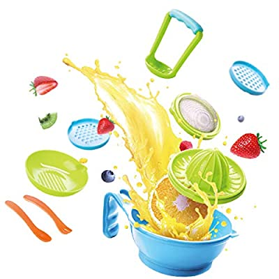Baby Food Maker Masher 9 in 1 by Haaytonger, Portable Baby Food Feeder Processor Smasher Serve Bowl Spoon Vegetables Fruit Ricer Grinder Tools   Great for Travel, BPA-Free, Dishwasher Safe