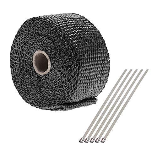 5 m x 5 cm nero fibra di vetro tubo di scarico calore Wrap nastro collettore isolare avvolgere rotolo kit con 5 pz 20 cm fascette in acciaio inox