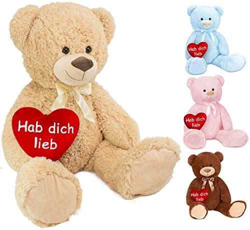 Brubaker XXL Teddybär 100 cm groß Beige mit einem Hab Dich lieb Herz Stofftier Plüschtier Kuscheltier