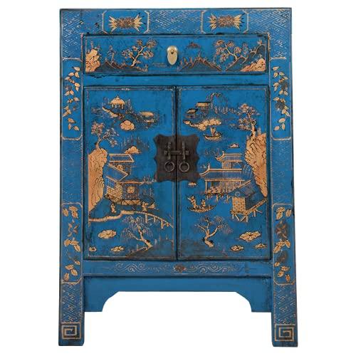 Fine Asianliving Gabinete chino azul pintado a mano paisaje W58xD37xH85cm