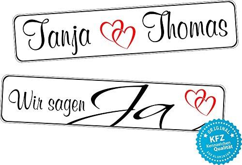 liebesmasche Original KFZ-Kennzeichen Hochzeit Autoschilder Hochzeitsschilder Namensschilder Wir Sagen Ja 0217