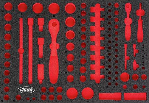 Vigor V4514 3/3+ Weichschaum-Einlage 6,3-12,5 mm(1/4-1/2 Zoll) Steckschlüssel-Satz, leer