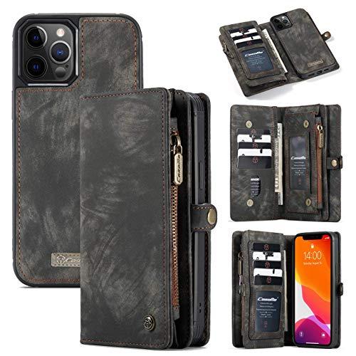 Junqin Funda tipo cartera compatible con iPhone 12Mini, hecha a mano, con cremallera, tarjetero para tarjetas de crédito, funda magnética desmontable, apta para iPhone 12 5.4 – negro, iPhone 12 6.1