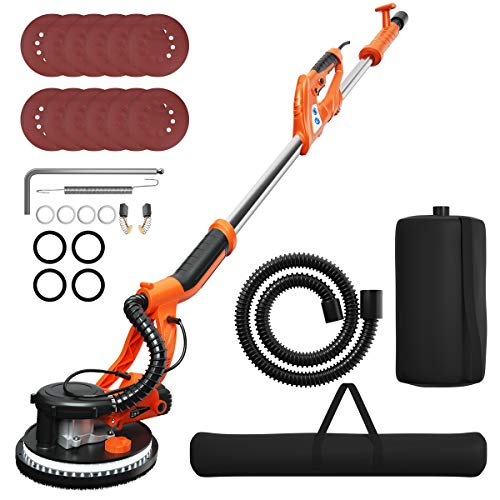 Goplus 750W Drywall Sander, Electric Sander Machine w/Dust-Free Automatic Vacuum System, 6 Variable Speed 800-1750 RPM, Double-Deck LED Lights, 12 Sanding Discs & Carrying Bag (Unfoldable)