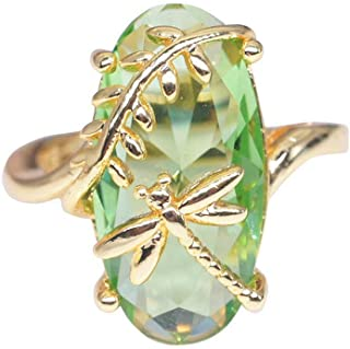 FEDULK Womens Light Luxury Rings Dragonfly Ring Natural Transparent Peridot Gemstone Wedding Promise Rings