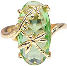 CapsA Dragonfly Ring Natural Transparent Peridot Gemstone Rings Luxury Wedding Ring Gift Wedding