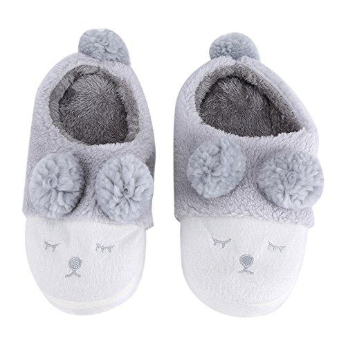GOTOTOP Simpatico Cartone Animato Inverno casa Calda Pantofole, Scarpe da Interno Peluche morbide Pantofole Interne per Donna Donna(38-39-Grigio)