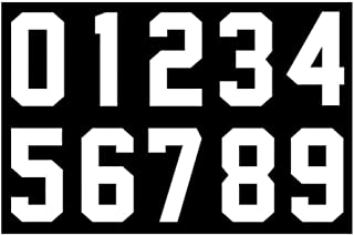 8 Inch Heat Transfer Numbers Kit 0 to 9 for Sports Jerseys T-Shirt Iron on Numbers for Jersey Football Baseball (White)