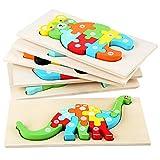iBaste Puzzle de madera para niños, juegos de rompecabezas, piezas de construcción de dibujos animados, juguete intelectual
