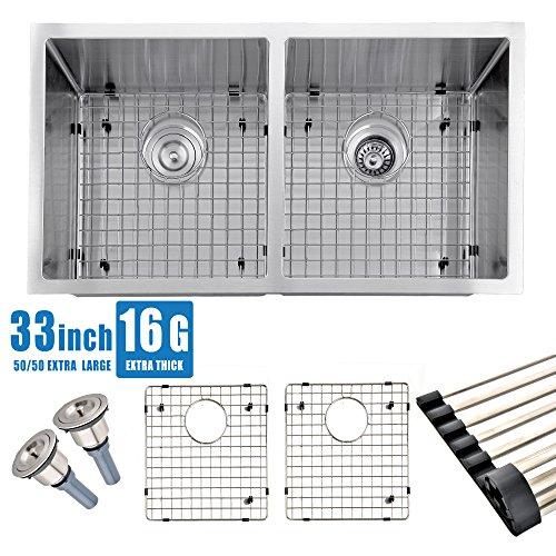 Comllen 33 Inch Undermount 50/50 Deep Double Bowl 16 Gauge Stainless Steel Modern Kitchen Sink