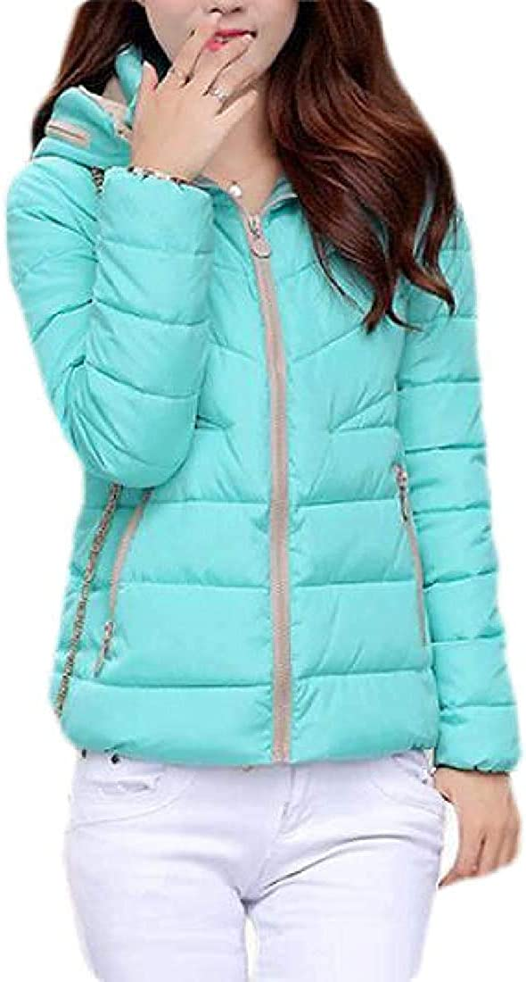 Yhsuk Women Winter Solid Color Quilted Jacket Hooded Down Coat Puffer Outerwear