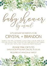 Gender Neutral Baby Shower By Mail Invitations, Virtual Baby Shower Invitation Card Sets With Matching Return Address Labels, Far Away Baby Shower Invitations