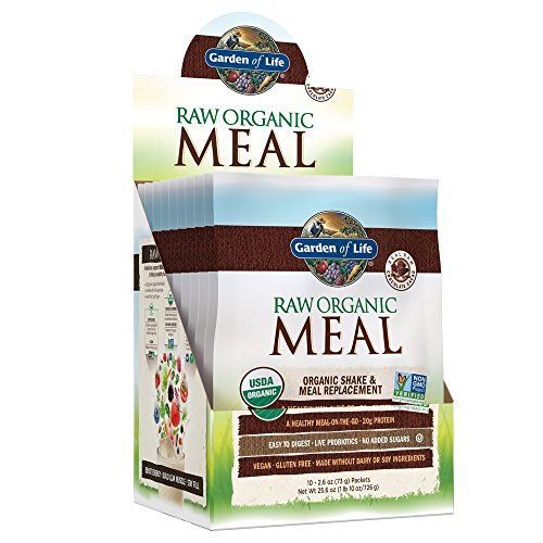 Garden of Life Raw Organic Meal Replacement Powder - Chocolate, 20 Servings (10ct Tray), 20g Plant Based Protein Powder, Superfoods, Greens, Vitamins & Minerals, All-in-One Meal Replacement Shake