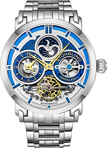 Stührling Original Reloj para hombre automático de acero inoxidable, esfera de esqueleto plateado, hora dual, AM/PM luna solar, pulsera de acero inoxidable, 371B relojes para hombres de la serie