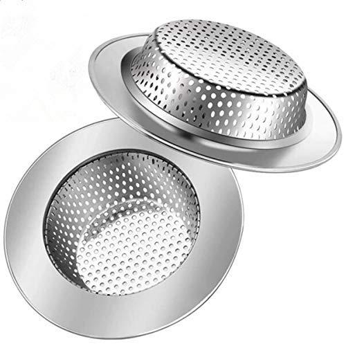 Colador de desagüe para fregadero de cocina, 2 unidades de 4.5 pulgadas de diámetro, filtro de fregadero de acero inoxidable, antiobstrucción..