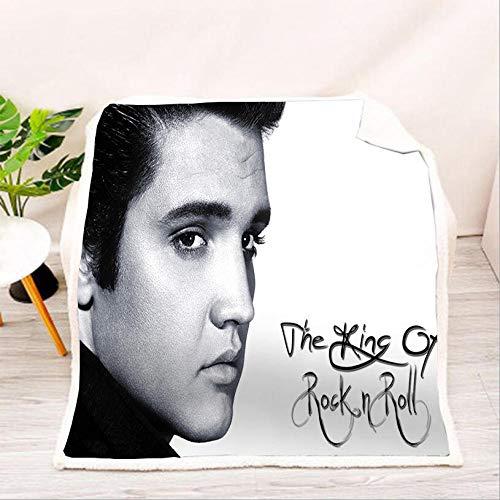 HYQDD Flannel Blanket 3D Grey Elvis Presley-130x150cm Blanket for Kids Child Adults Soft Plush Bedding Sofa Couch Throw Blanket Cozy Home Decor Blankets Office Blanket Nap Blanket