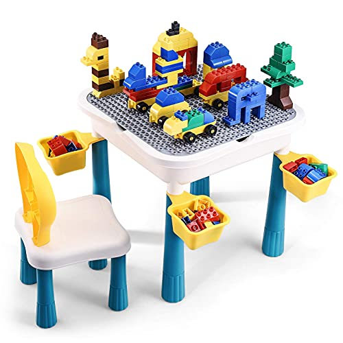 All-in-1 Multi Activity Table, Toddler Table and Chair Set, 66Pcs Large Building Blocks Lego Table with Storage for Toddlers, Desk for Kids, Water/Sand/Building Blocks Table, Early Learning Helper