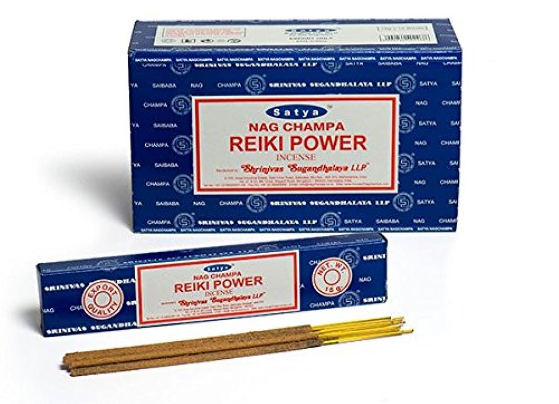 ウェイトレス意外サイズSatya Nag Champa Reiki Power お香スティック Agarbatti 180グラムボックス | 15グラム入り12パック 箱入り | 輸出品質
