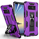 Compatible for Samsung Galaxy Note 8 Case with HD Screen Protector, Gritup Military Grade Dual Layer Protective Shockproof Cover Built-in Magnetic Kickstand Phone Case for Samsung Note 8, Purple