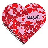 Scattered Heart Personalized Patterned Heart-Shaped Spiral Notebook/Journal, 120 specialty lined or sketch pages, durable laminated cover, and wire-o spiral. Made in the USA.