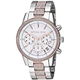 Michael Kors Women's Ritz Quartz Watch with Stainless-Steel-Plated Strap, Two Tone, 18 (Model: MK6651)