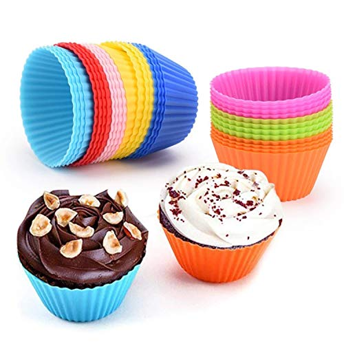 BvCook Silicone Cupcake Liners Nonstick Muffin Molds Reusable Silicone Baking Cups Cake Mold for Muffins (48pcs 8 Rainbow Colors)