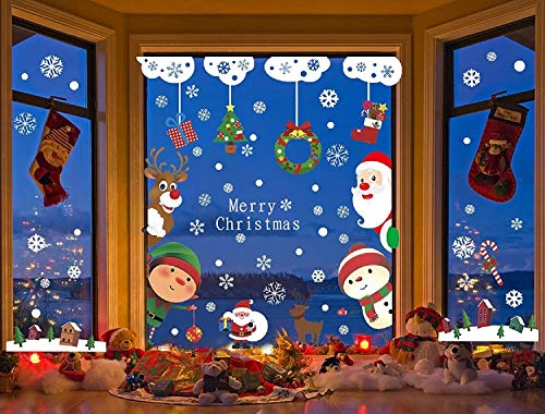 Display da finestra a 9 foglio S Babbo Natale Decalcomania del pupazzo di neve for la casa / negozio / decorazioni della finestra del partito La finestra statica si aggrappa adesivi in PVC stikers n
