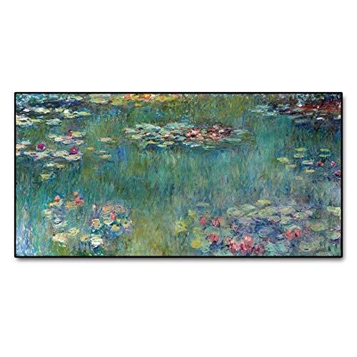 Gymqian Reproducción de Pinturas en Lienzo de Loto de Agua de Claude Monet, Carteles de Arte e impresión de Imagen de Pared para la decoración del Dormitorio de la Sala de Estar, 50x100cm sin Marco