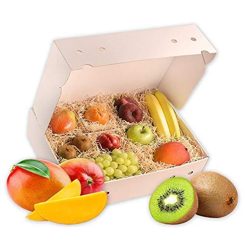 Obstbox Fruchtmix mit frischem gesunden Obst für einen lieben Gruß in klassischer Geschenkbox Geschenkset Obstkiste (Die Himmelblaue)
