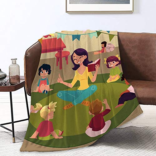 NiYoung Throw Wrap Cover School Blankets for Bed Couch Chair Living Room, Sherpa Flannel Throw Wearable Cuddle for Kids Adults, Super Warm, Teacher Reading Kids Sit Circle Images Wrap Sheet