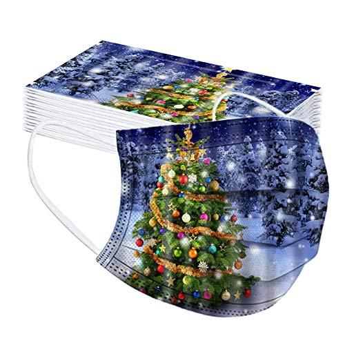 SicongHT 30 Stück Mundschutz Neu Erwachsene Einweg Mund Nasenschutz Schneeflocke Weihnachtsmann Elch Weihnachtsbaum Druck Atmungsaktiv Multifunktionstuch Weihnachts Bandana Halstuch(30 Stück,E)