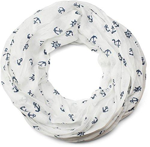 styleBREAKER leichter Loop Schlauchschal mit maritimen Anker und Steuerrad Muster, seidig, Schal, Tuch, Damen 01016129, Farbe:Weiß-Dunkelblau